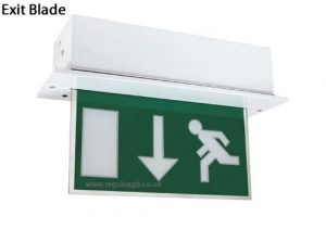 Emergency Exit Bulkhead and Down Arrow Sign Blade